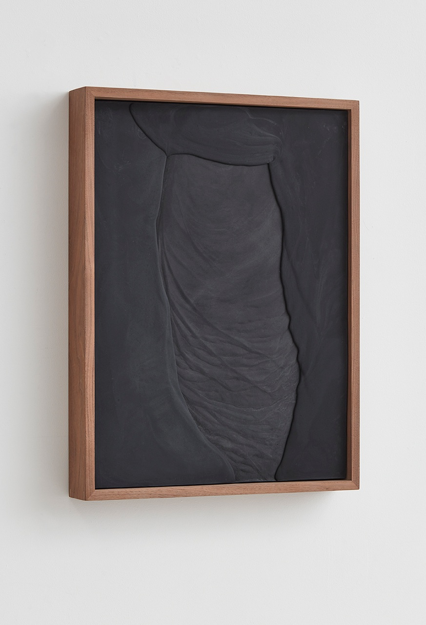 Anthony Pearson  Untitled (Plaster Positive)  (Alternate view) 2016 Pigmented hydrocal in walnut frame 28 ¾h x 21 ½w x 3 ¼d in AP414