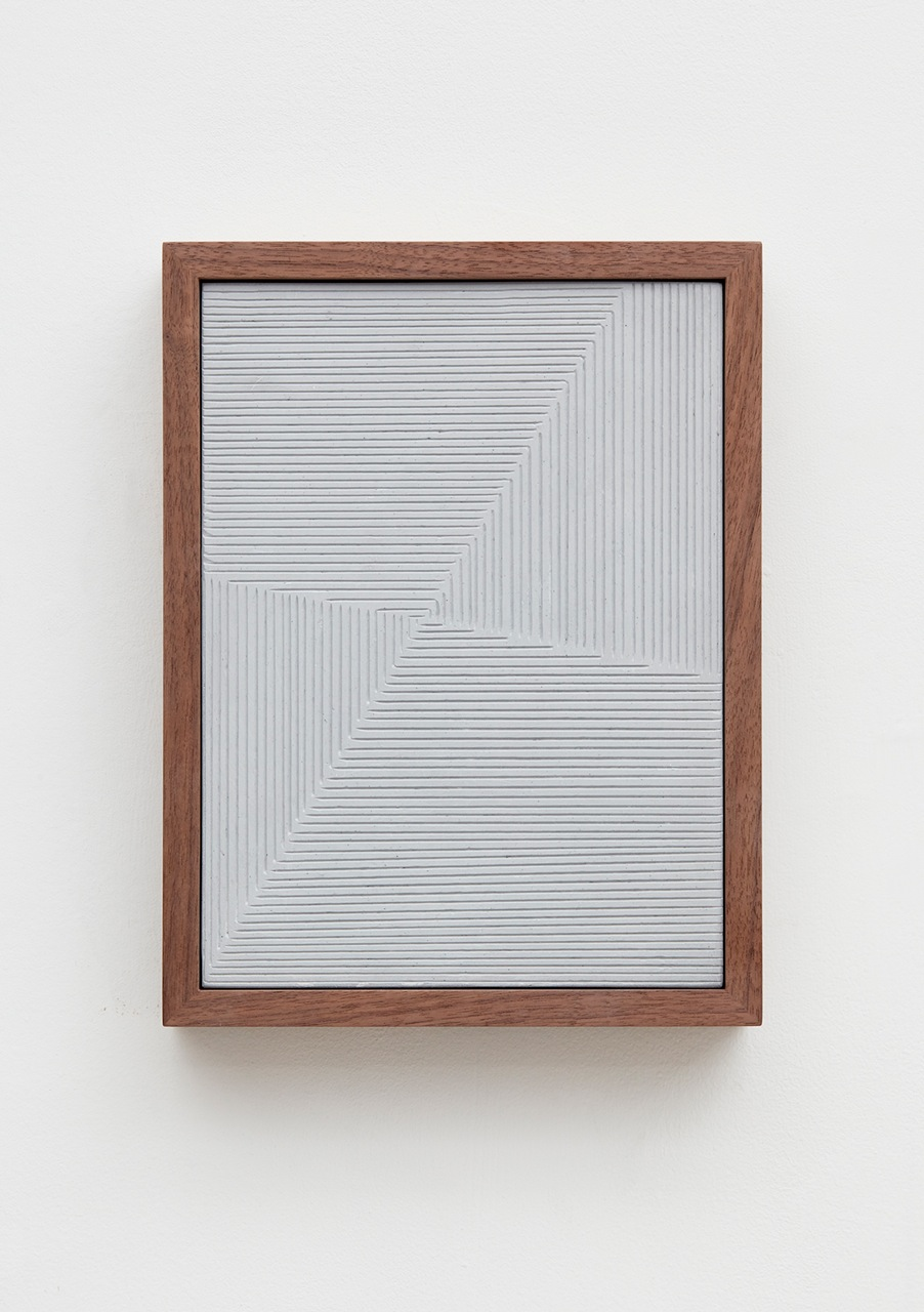 Anthony Pearson  Untitled (Etched Plaster Triptych)  (Detail) 2016 Medium coated and pigmented hydrocal in three walnut frames Each 10 ½h x 8w x 1 ¾d in, overall 10 ½h x 37w x 1 ¾d in AP432