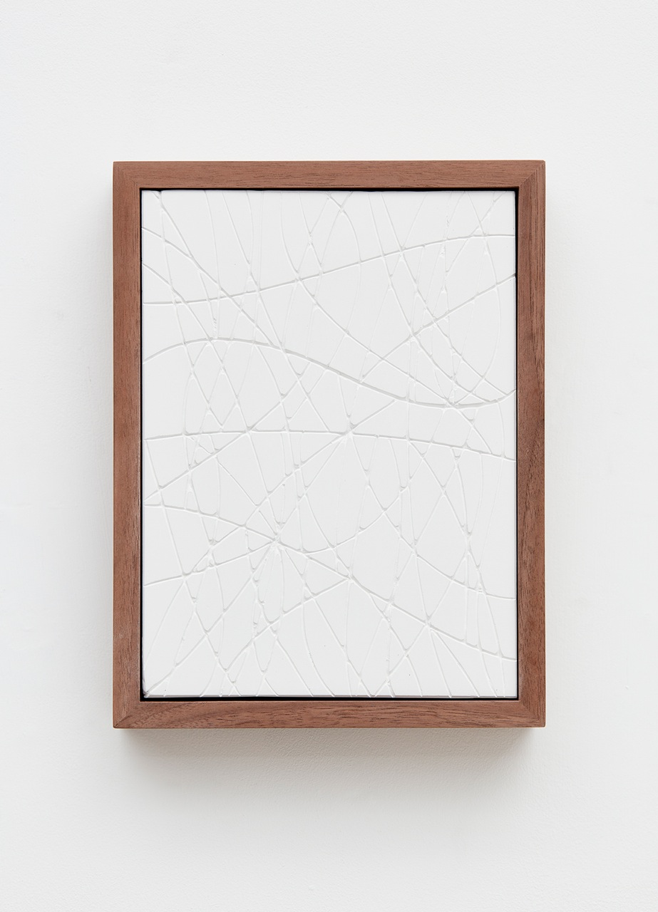 Anthony Pearson  Untitled (Four Part Etched Plaster)  (Detail) 2016 Medium coated and pigmented hydrocal in four walnut frames Each 10 ½h x 8w x 1 ¾d in, overall 10 ½h x 51 ½w x 1 ¾d in AP433