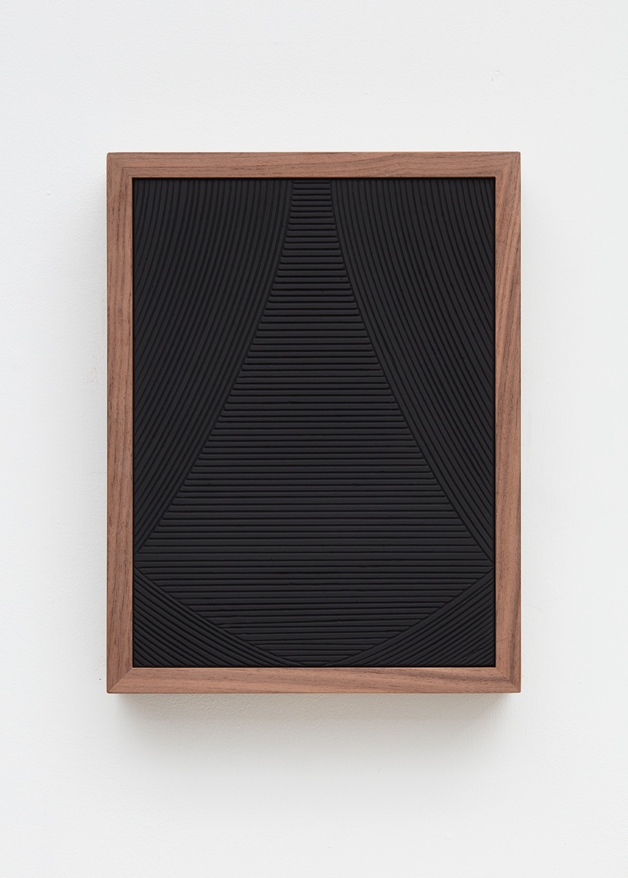 Anthony Pearson  Untitled (Four Part Etched Plaster)  (Detail) 2016 Medium coated and pigmented hydrocal in four walnut frames Each 10 1/2h x 8w x 1 3/4d in, overall 10 1/2h x 51 1/2w x 1 3/4d in AP433