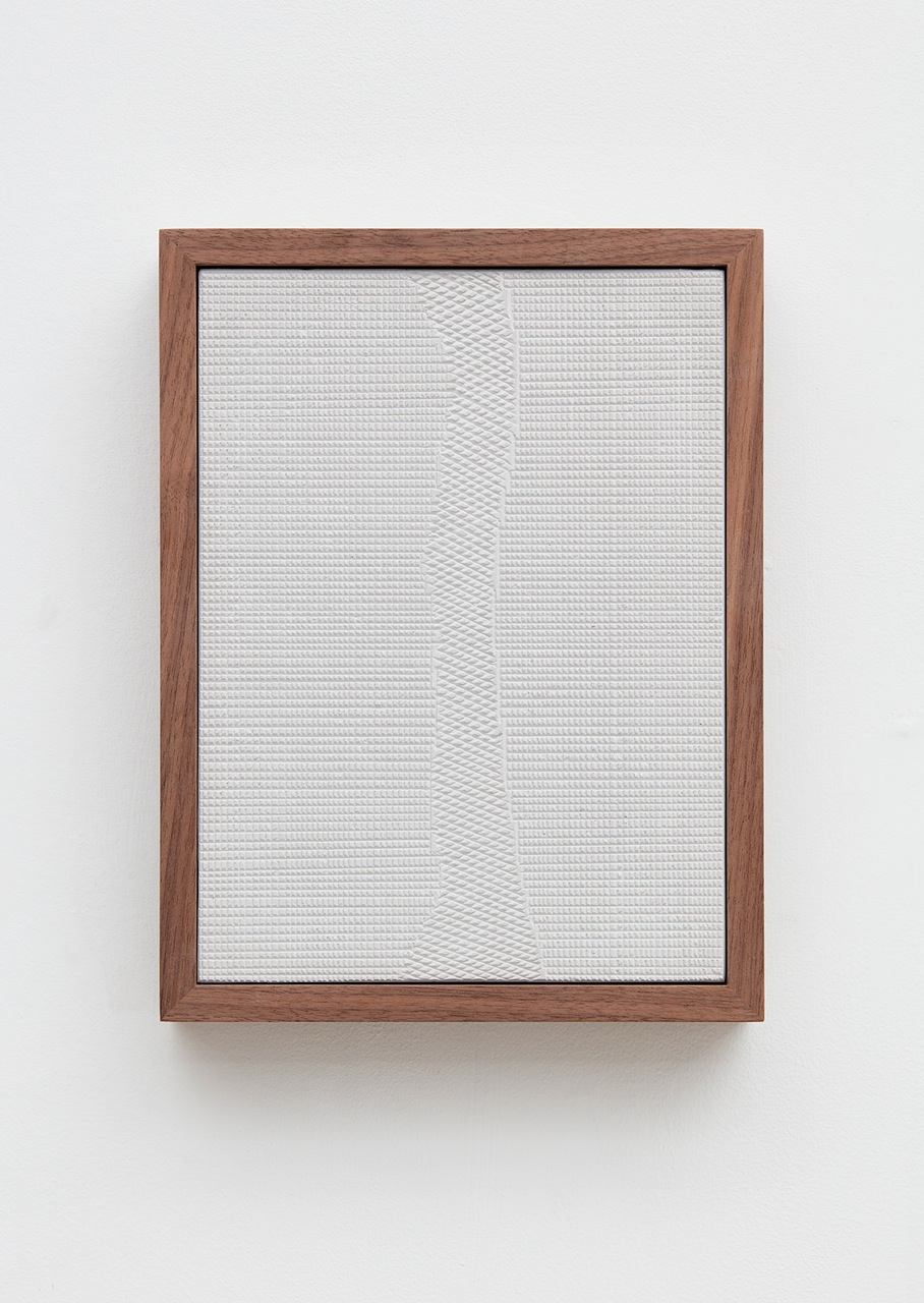 Anthony Pearson Untitled (Four Part Etched Plaster), Detail 2016 Medium coated and pigmented hydrocal in four walnut frames Each 10 1/2 x 8 x 1 3/4 in, overall 10 1/2 x 51 1/2 x 1 3/4 in AP433