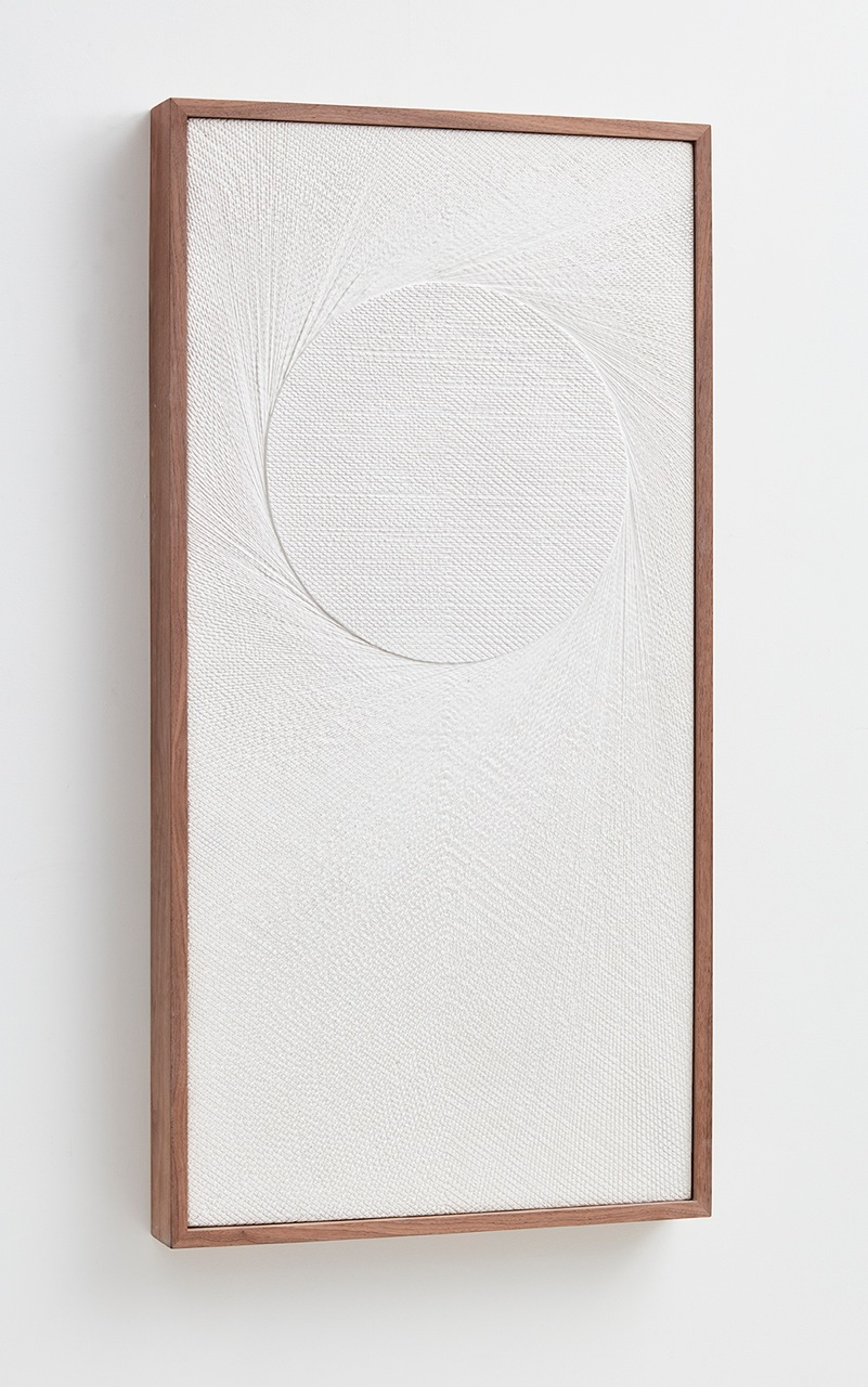 Anthony Pearson  Untitled (Etched Plaster)  (Alternate view) 2016 Hydrocal in walnut frame 48 ½h x 24 ¾w x 3 ½d in AP412