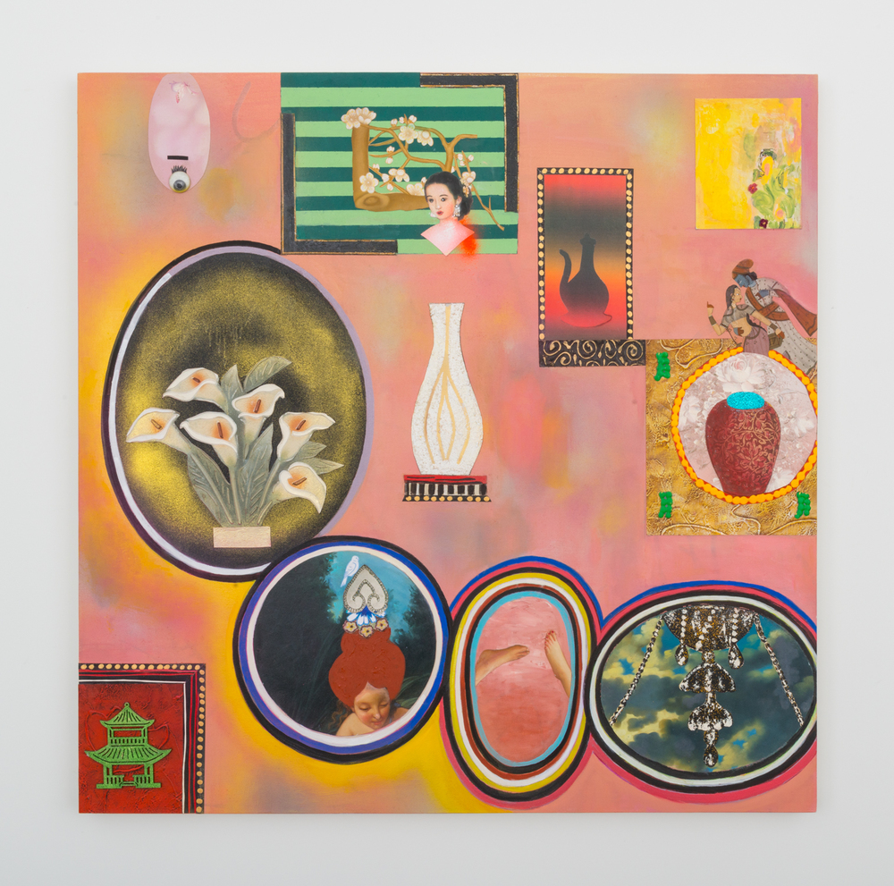 Phyllis Bramson Flaubert's Collection, (Madame Bovery's Peach Wall By The Red Chinese Chair) 2016 Mixed media, oil, and collage on canvas 48 x 48 in (121.92h x 121.92w cm) PB003