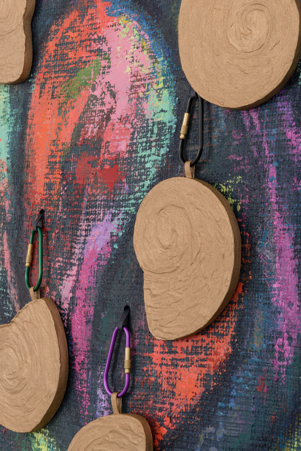 Dianna Molzan  Untitled  (Detail) 2016 Oil on jute, oil on canvas and wood, and carabiners 33h x 23.5w x 2.1d in DM003