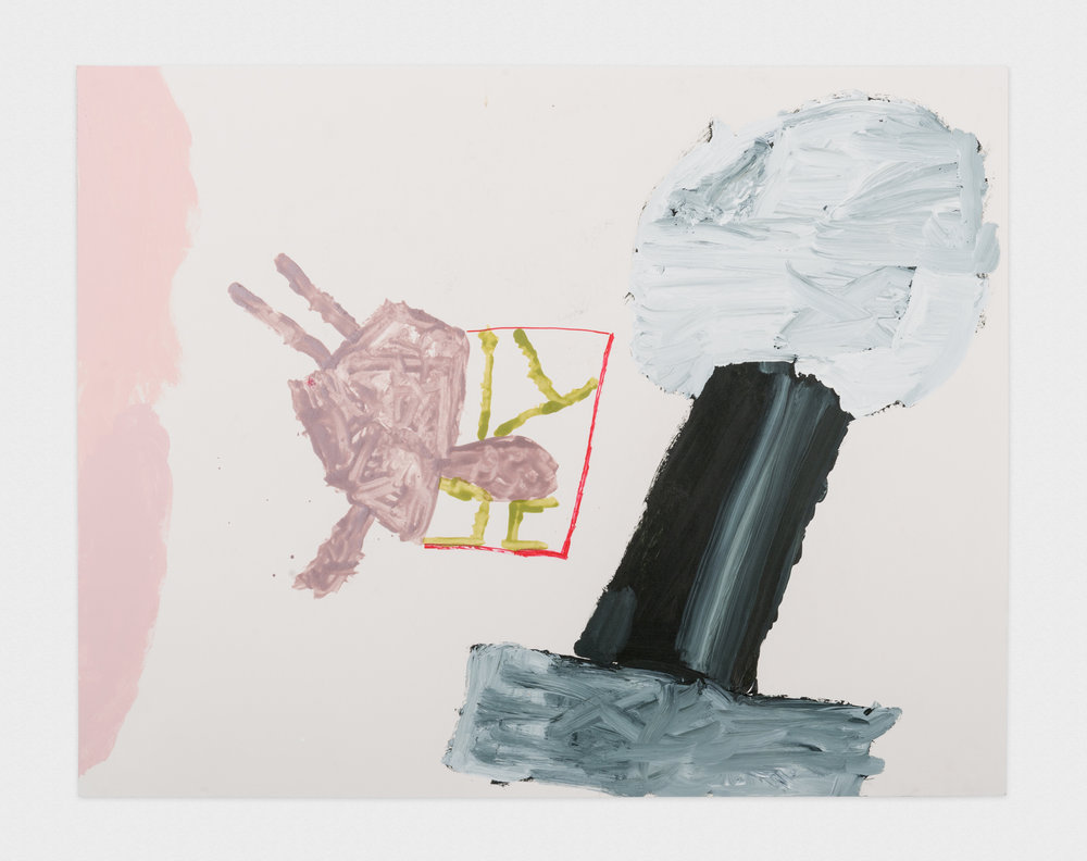 Torey Thornton  Current Hair and Sex Mic  2016 Acrylic paint and nail polish on paper 22h x 28w in (artwork); 24h x 30w in (framed) TT007