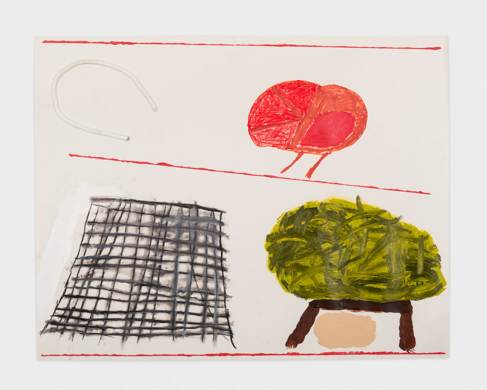 Torey Thornton  Untitled Landscape, Cage or Scraper  2015 Acrylic paint, sharpie, graphite, oil pastel, and cotton on paper 22h x 28w in (artwork); 24h x 30w in (framed) TT012