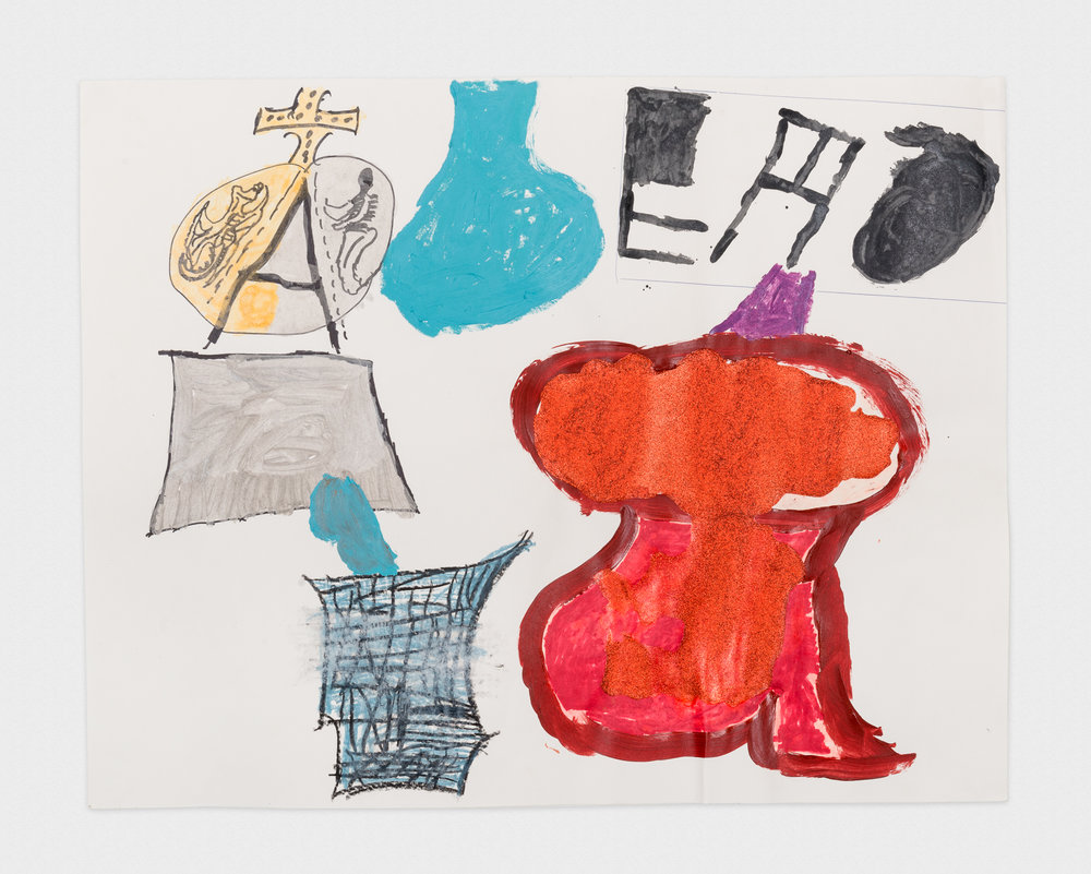 Torey Thornton Celine has Good Letters so that's the Couture Red Garment 2015 Mixed media on paper 22 x 28 in (artwork); 24 x 30 in (framed) TT013