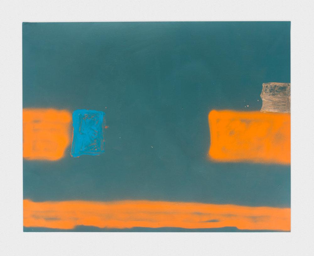 Torey Thornton Striping Study of Balance, Still Building 2015 Mixed media on paper 22 x 28 in (artwork); 24 x 30 in (framed) TT025