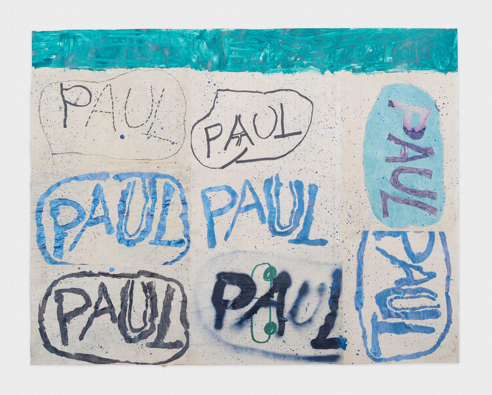 Torey Thornton  How Many Good Pauls Do You Know  2015-2016 Spray paint, sharpie, collage, ink, and nail polish on paper 22h x 28w in (artwork); 24h x 30w in (framed) TT033