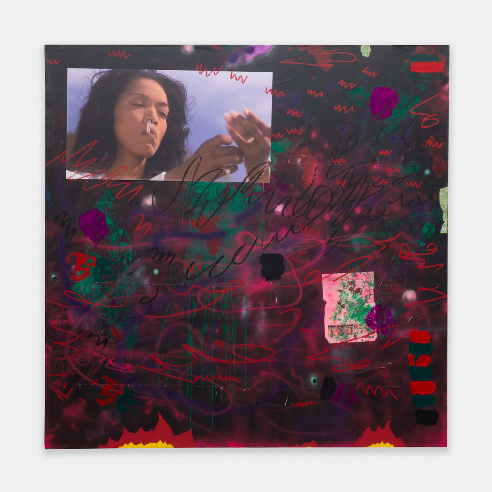 David Leggett Dragon Breath: Black love and smoke signals. 2015 Acrylic, collage, airbrush, spray paint, oil bar, and inkjet print on paper mounted on canvas 80 x 80 in (203.2h x 203.2w cm) DL002