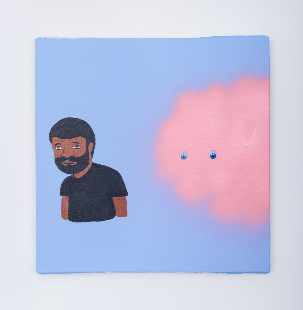 David Leggett  With your looking ass  2016 Acrylic, spray paint, and wiggle eyes on canvas 16h x 16w in DL004