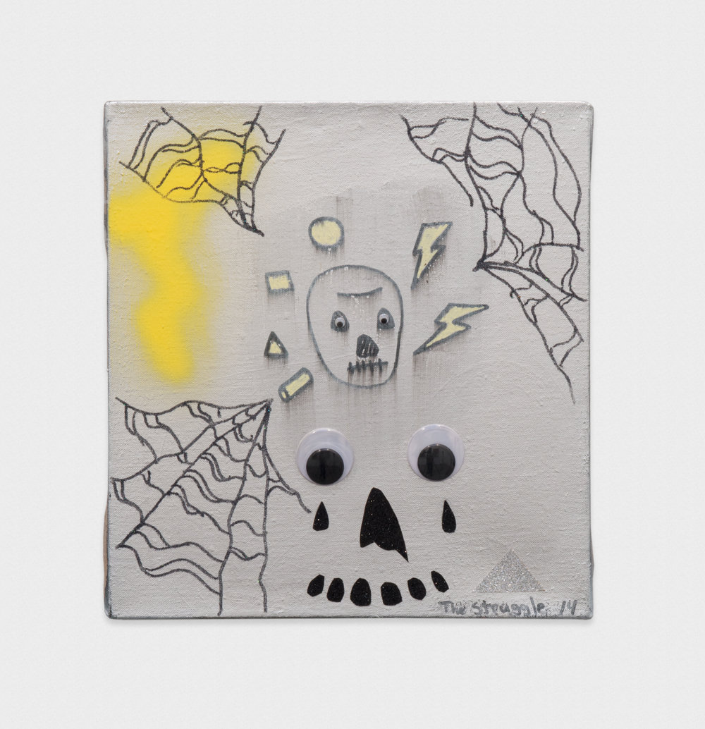 David Leggett  Minimal Death  2014 Acrylic, spray paint, glitter, collage, and wiggle eyes on linen 14h x 13w in DL008