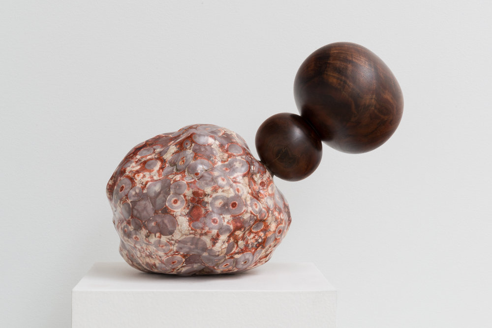 Alma Allen Untitled 2015 Birds eye agate and walnut 12 x 12 x 12 in (30.48h x 30.48w x 30.48d cm) AA040