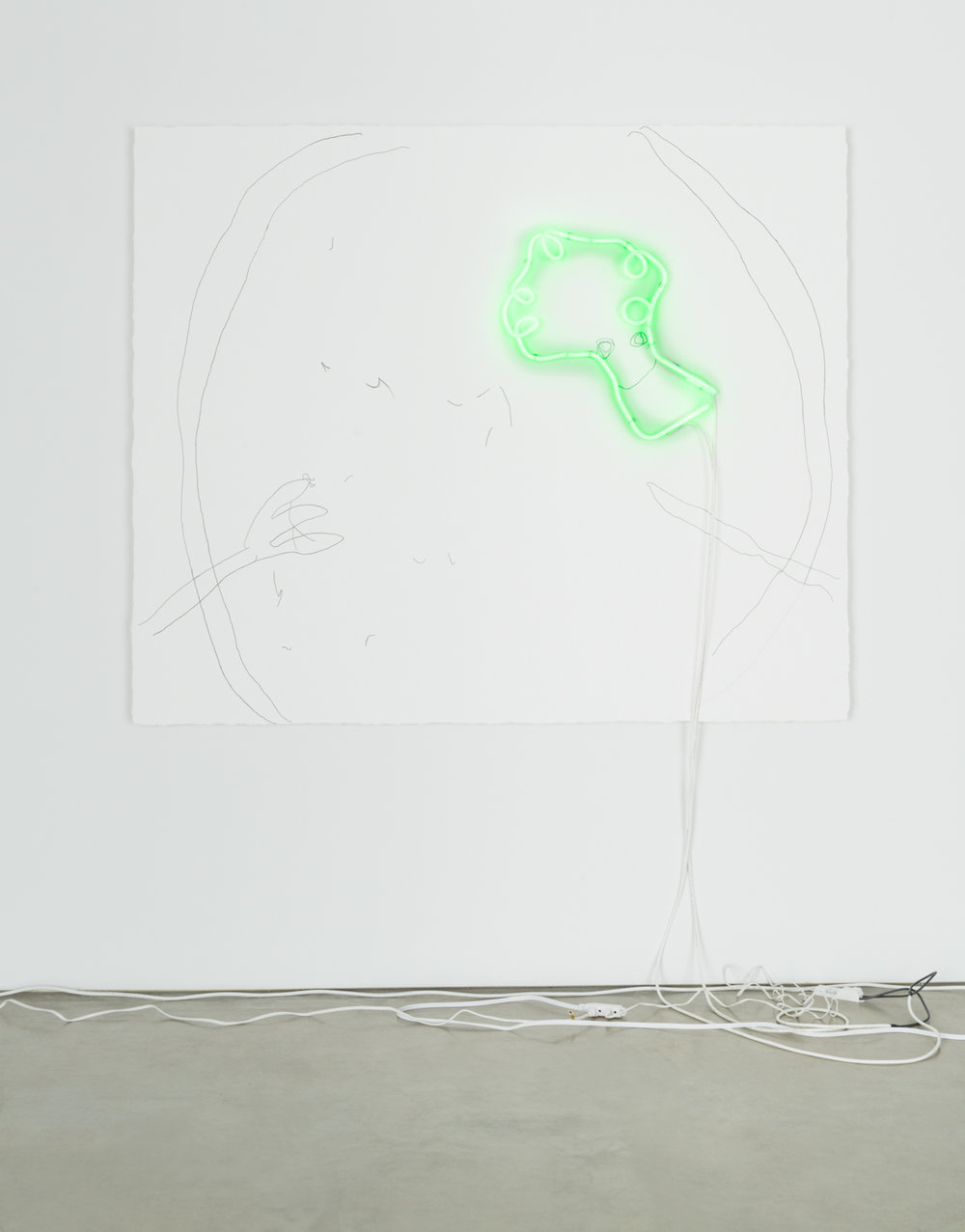 CD Wu not yet titled 2016 Acrylic gesso, pencil, and neon on canvas 60h x 72w in CDW008
