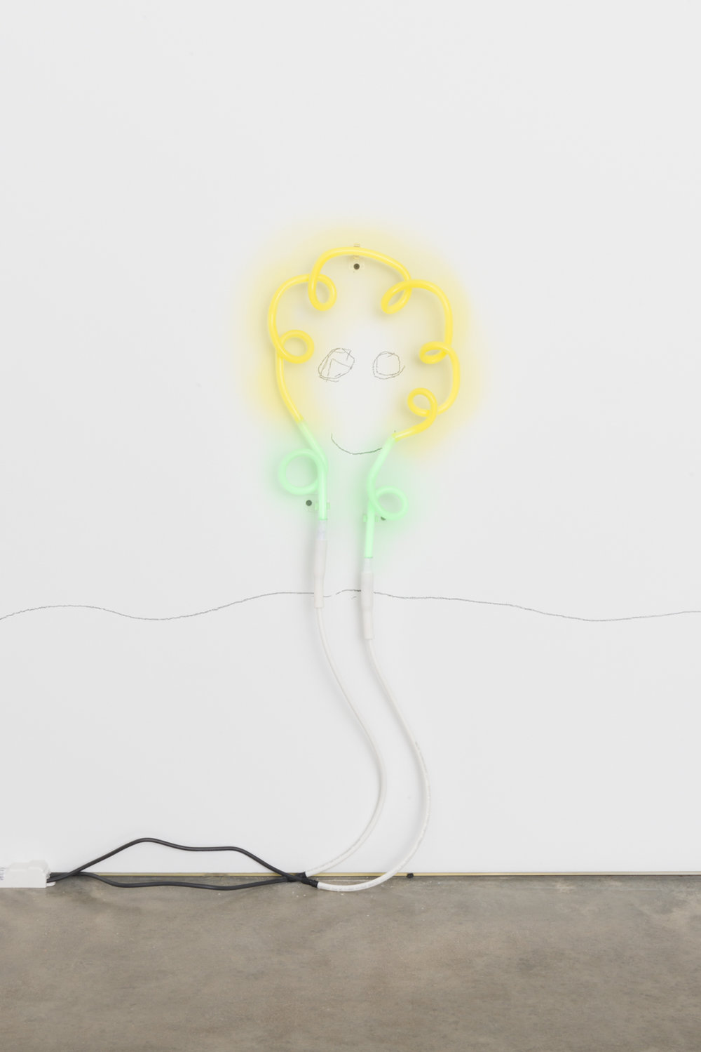 CD Wu Not yet titled (flower) 2016 Neon and pencil 16h x 9w in CDW012