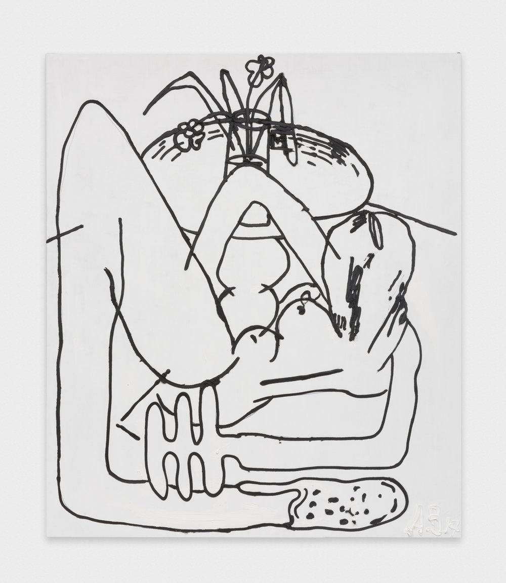 Alex Becerra Figure and Interior 2016 Oil on linen 82.5 x 71 in (209.55h x 180.34w cm) AB116