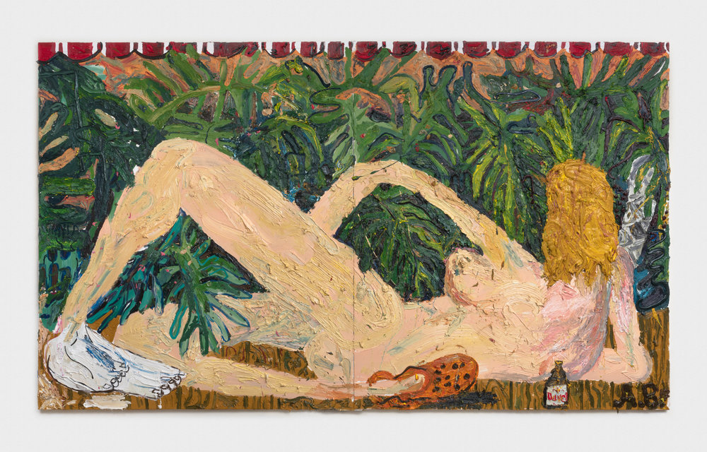 Alex Becerra  Crocs & Duvel  2016 Oil and acrylic on linen 82 ½h x 142w in AB115