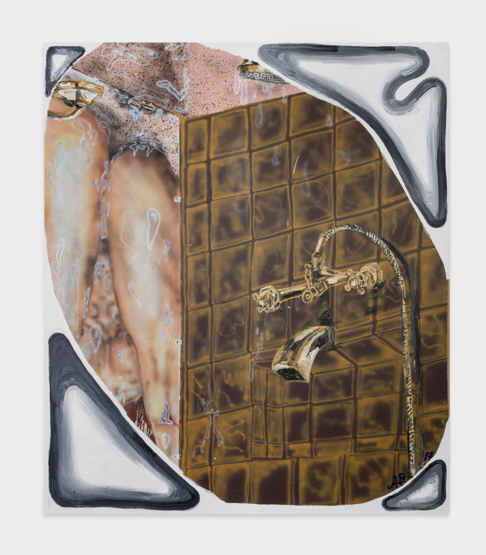 Alex Becerra  Once Upon a Shower (Reflections)  2017 Oil and acrylic on linen 82 ½h x 71w in AB125
