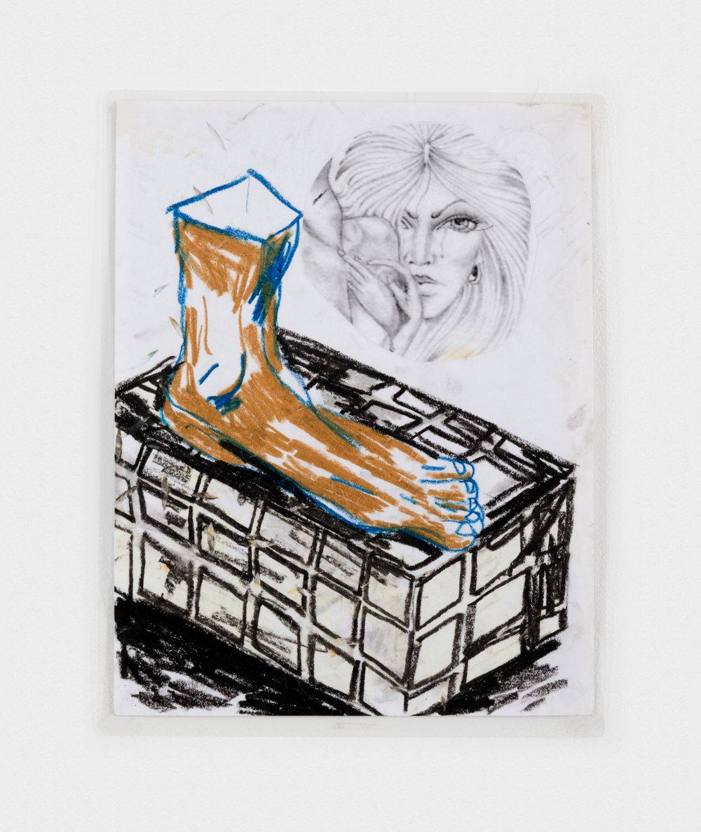Alex Becerra La Data y La Majer 2016 Oil pastel and ink transfer on paper (laminated) 11 x 8 1/2 in (27.94h x 21.59w cm) AB209