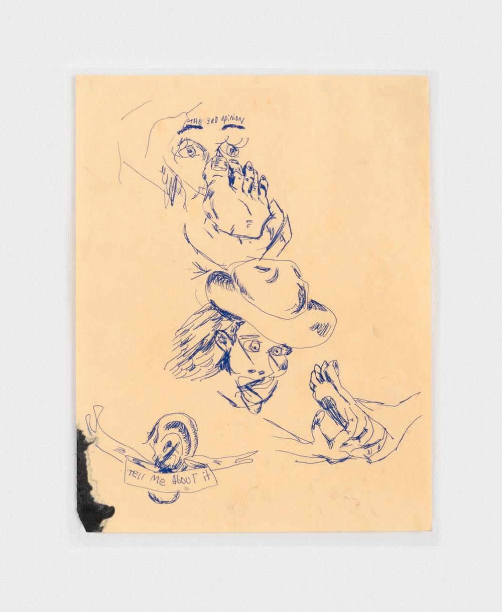 Alex Becerra Foot Rub 2016 Ink on paper (laminated) 11 x 8 1/2 in (27.94h x 21.59w cm) AB156