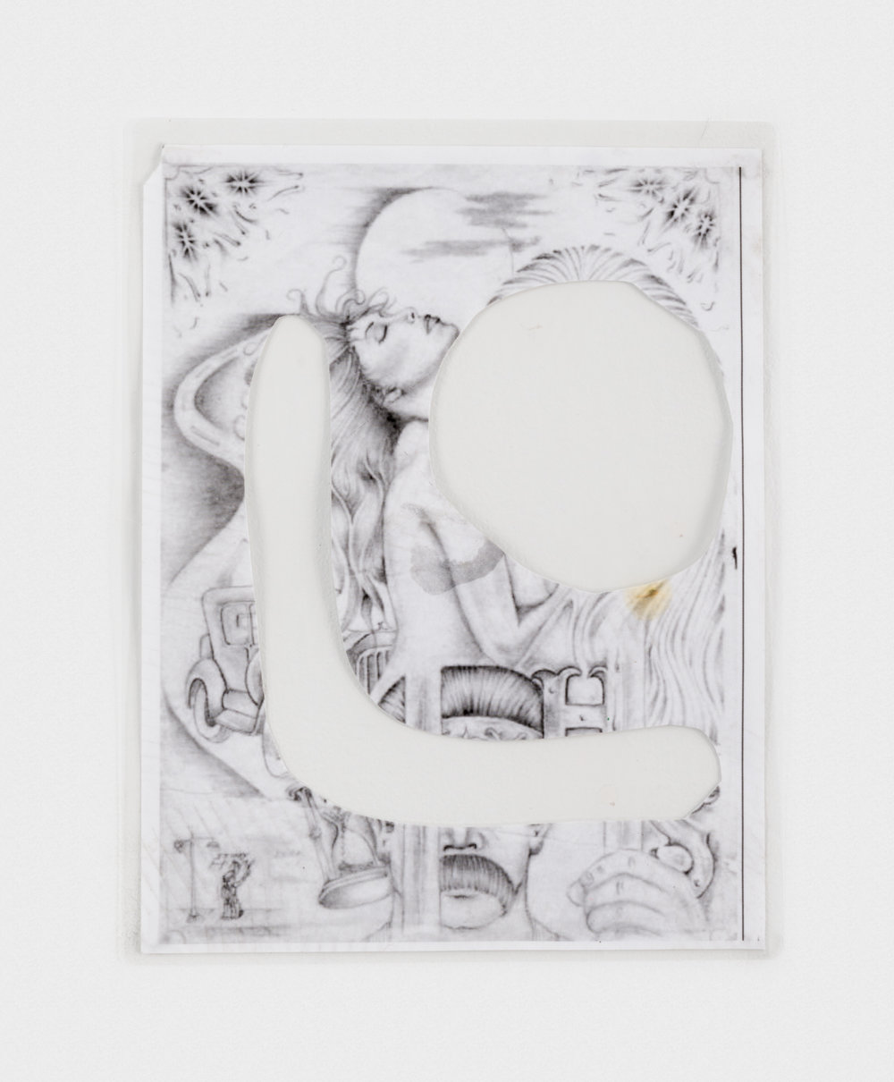 Alex Becerra  Love is Negative  2016 Ink transfer on paper (laminated) 11h x 8 1/2w in AB208