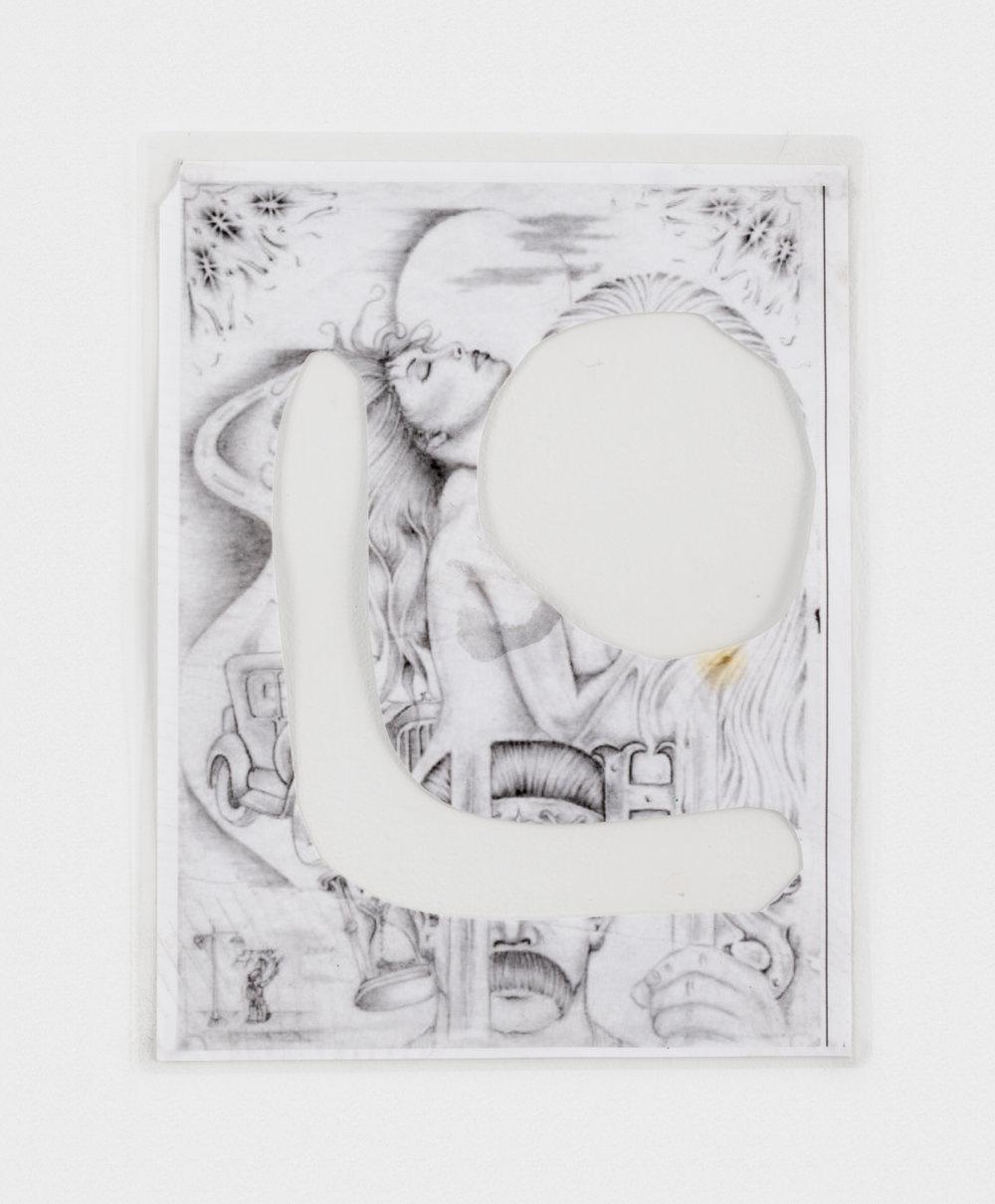 Alex Becerra Love is Negative 2016 Ink transfer on paper (laminated) 11 x 8 1/2 in (27.94h x 21.59w cm) AB208