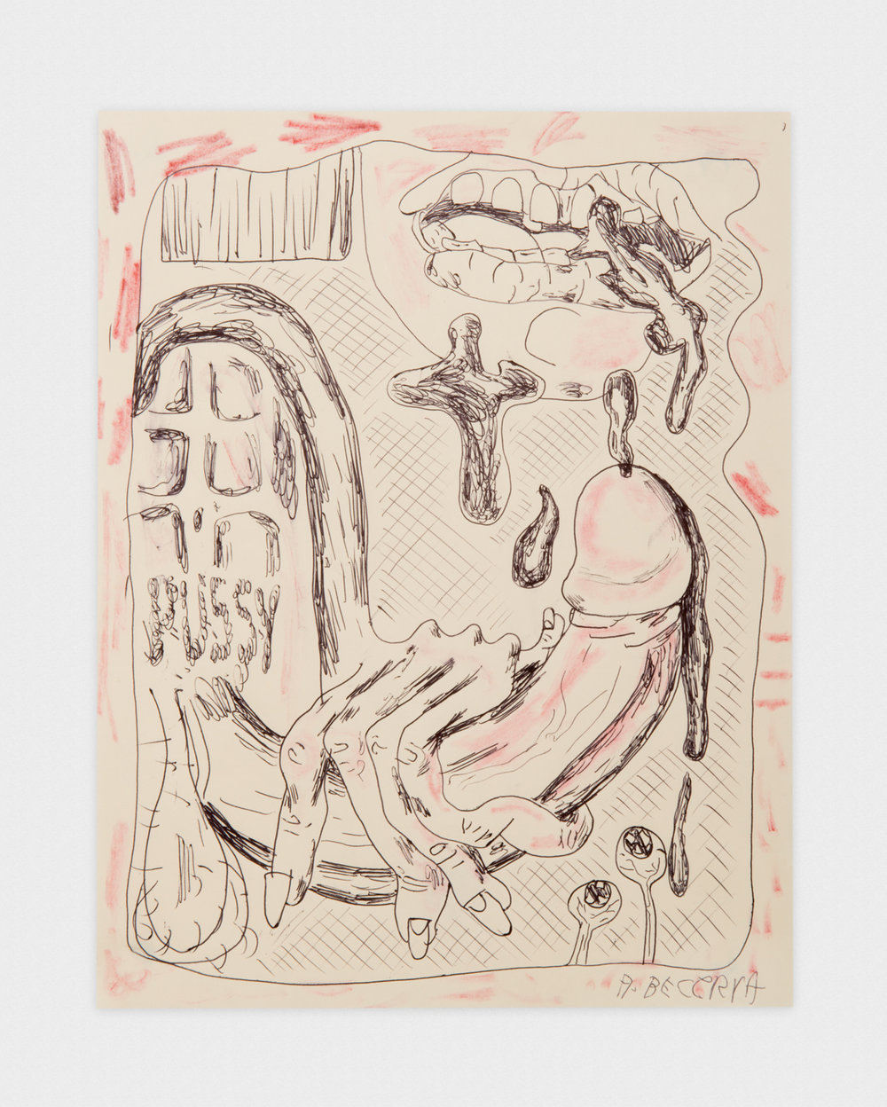 Alex Becerra Untitled 2016 Ballpoint pen and ink on paper 11 x 8 1/2 in (27.94h x 21.59w cm) AB429