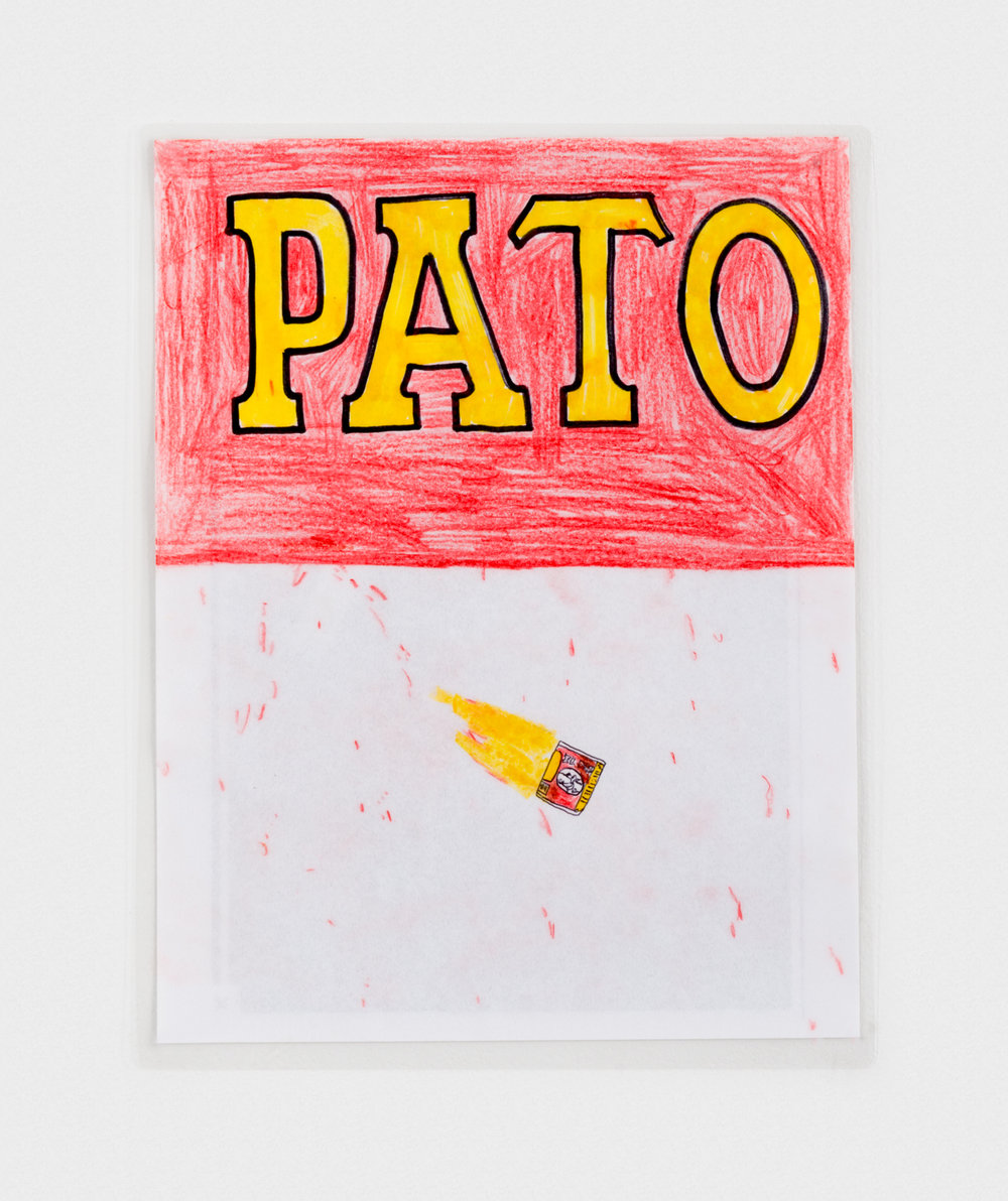 Alex Becerra Pato (After Ed Ruscha) 2016 Marker and colored pencil on paper (laminated) 11 x 8 1/2 in (27.94h x 21.59w cm) AB180