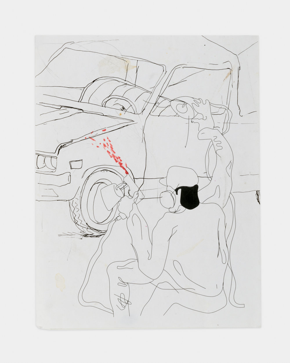 Alex Becerra  The Sprayer (P.11)  2016 Ballpoint pen and ink on paper (laminated) 11h x 8 ½w in AB437