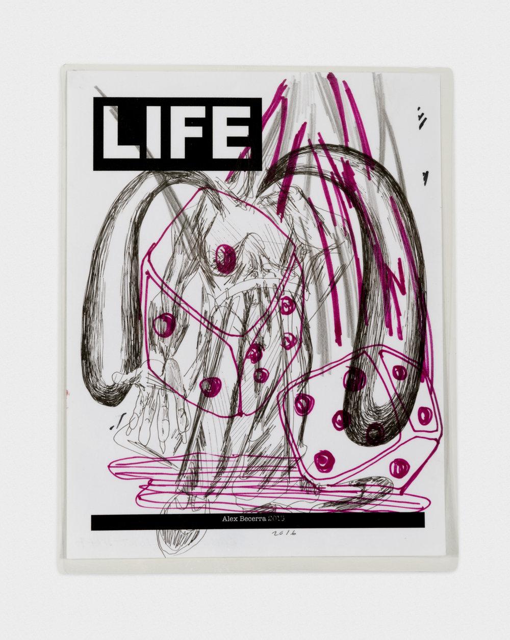 Alex Becerra La Movida Negra 2016 Pen and marker on photocopy (laminated) 11 x 8 1/2 in (27.94h x 21.59w cm) AB441