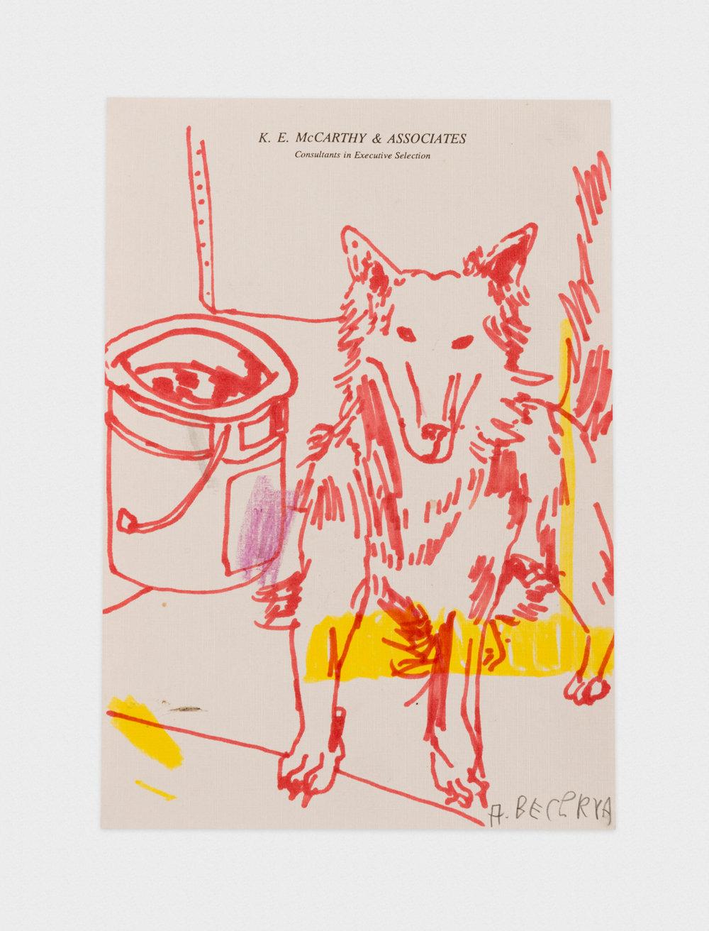 Alex Becerra Thirsty Fletch 2016 Marker on paper 9 x 7 in (22.86h x 17.78w cm) AB372