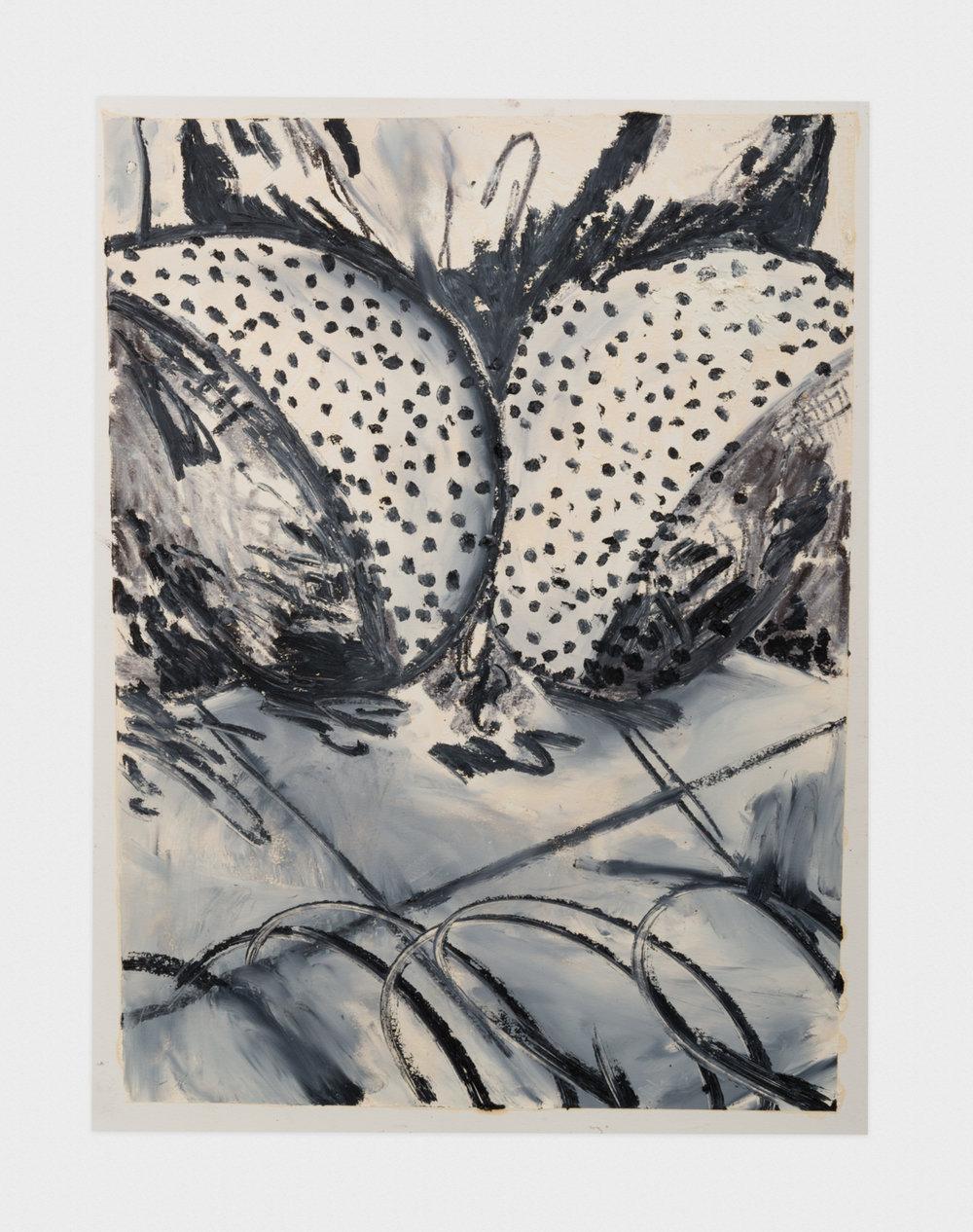 Alex Becerra  Sun Tan Dots  2016 Oil pastel on paper 24h x 18w in AB132