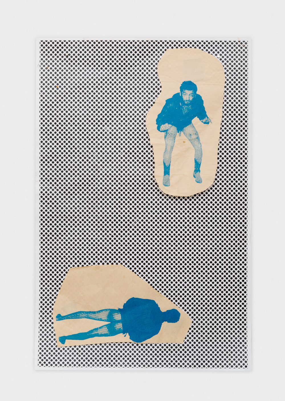Alex Becerra  Front and Back Cowboy (Dots)  2014 Silkscreen on newsprint and xerox copy 17h x 11w in AB224
