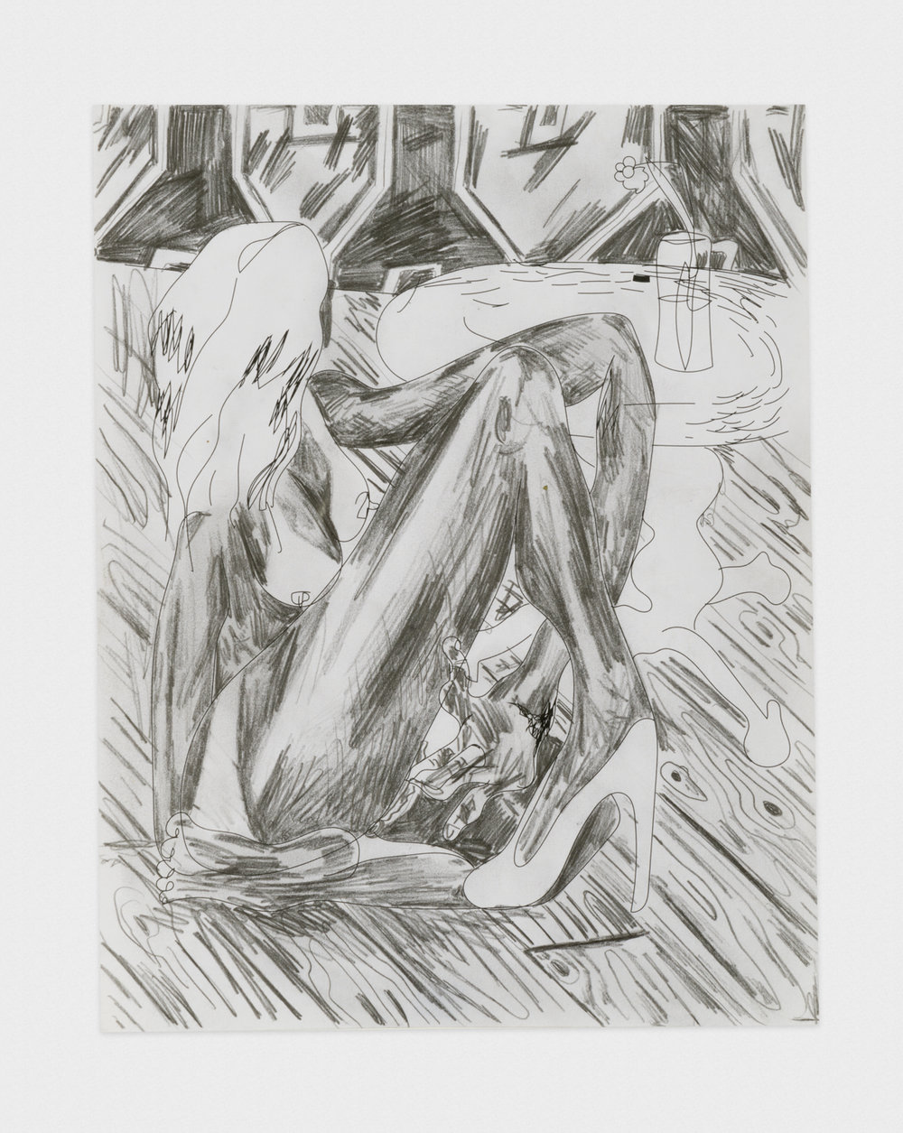 Alex Becerra Woman and Wood 2016 Graphite on paper 11 x 8 1/2 in (27.94h x 21.59w cm) AB435