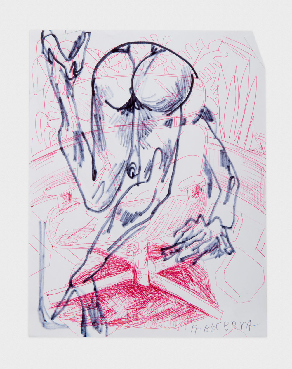 Alex Becerra  Untitled  2016 Ballpoint pen and marker on paper 11h x 8 1/2w in AB443