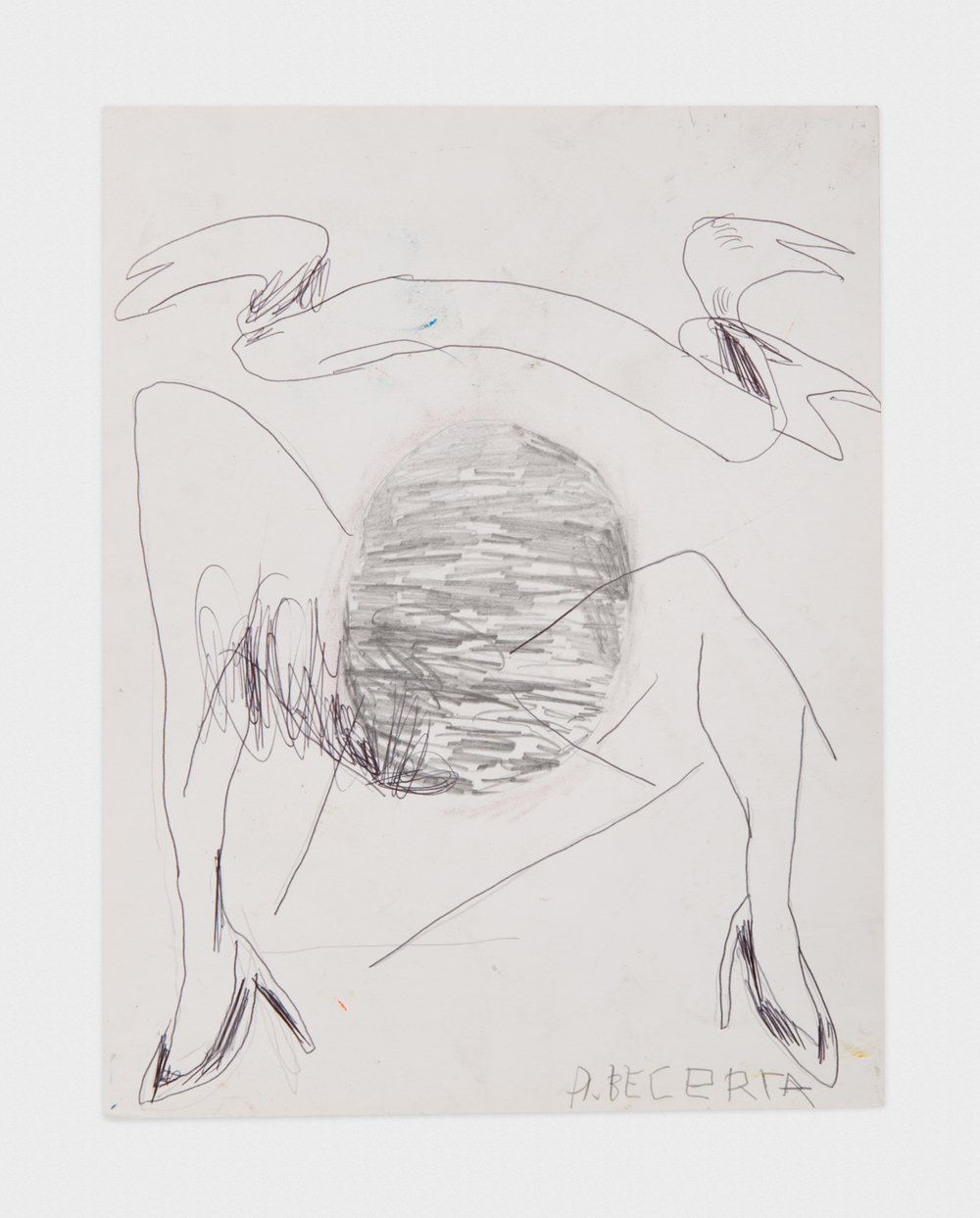 Alex Becerra Untitled 2016 Ballpoint pen and graphite on paper 11 x 8 1/2 in (27.94h x 21.59w cm) AB432
