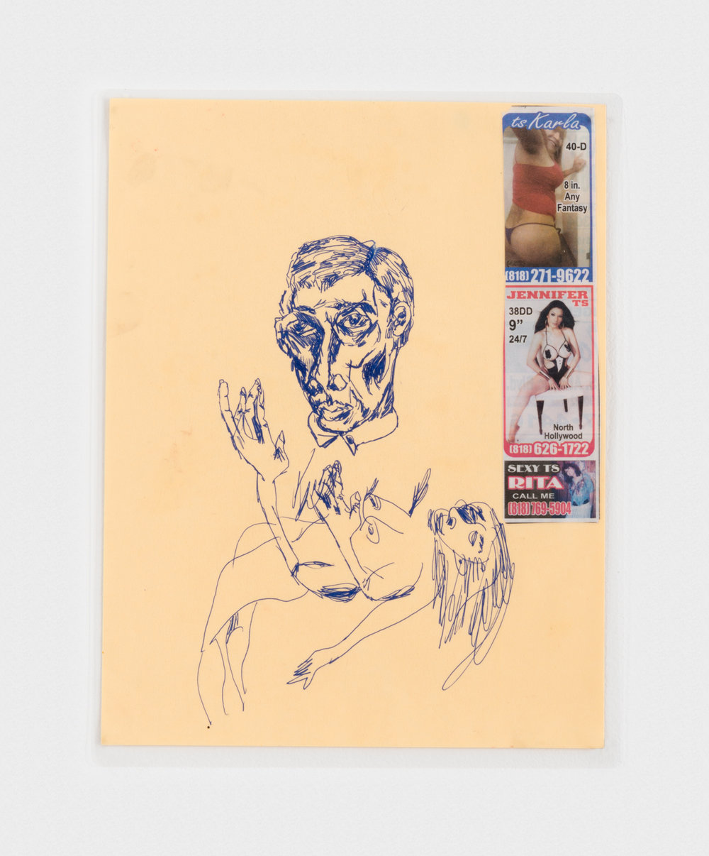 Alex Becerra  Women Stress Me Out  2016 Ink and collage on paper (laminated) 11h x 8 ½w in AB155