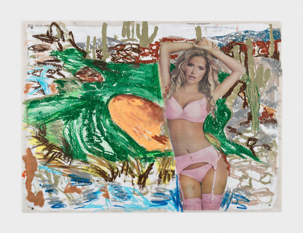 Alex Becerra  L.A. Express (Cactus)  2016 Oil pastel and acrylic paint on newspaper 17h x 22 1/2w in AB443