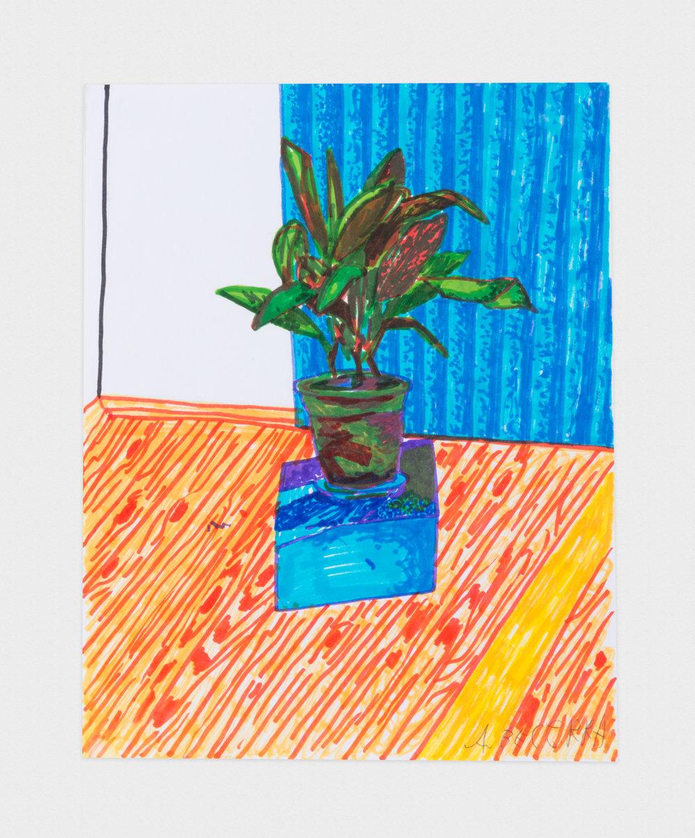 Alex Becerra  Apartment Interior  2016 Marker on paper 11h x 8 ½w in AB340