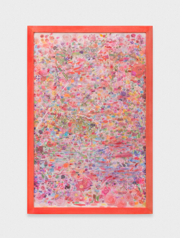 Michelle Rawlings Untitled 2017 Oil, digital print on silk in artist frame 12.75 x 8.38 in (32.39h x 21.29w cm) MRaw002