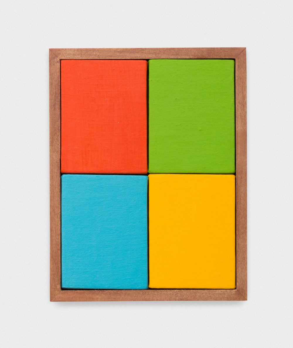 Michelle Rawlings  Microsoft  2017 Oil on linen, four canvases in artist frame 9h x 7w in MRaw003