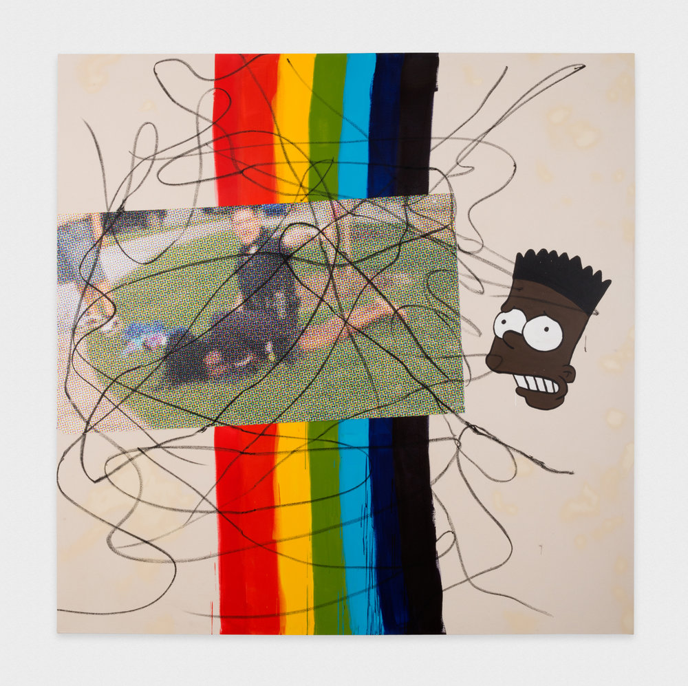David Leggett Invited to the cookout. 2017 Acrylic, collage, ink, oil stick, and airbrush on canvas 84 x 84 in (213.36h x 213.36w cm) DL192