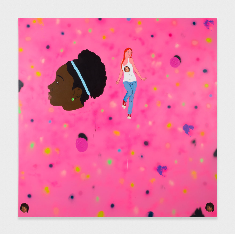 David Leggett Mmhmm 2017 Acrylic, airbrush, collage, and ink on canvas 84 x 84 in (213.36h x 213.36w cm) DL191