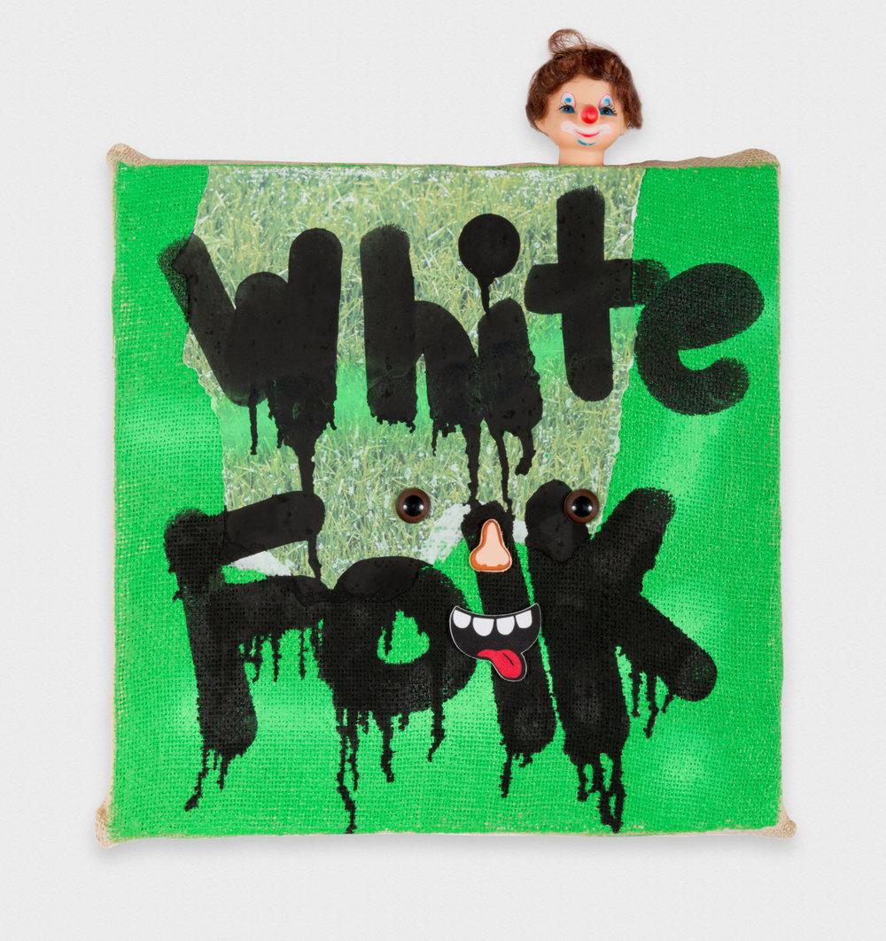 David Leggett Oh, y'all did that shit. 2017 Acrylic, ink, collage, and doll head on canvas 19 x 15 in (48.26h x 38.1w cm) DL187