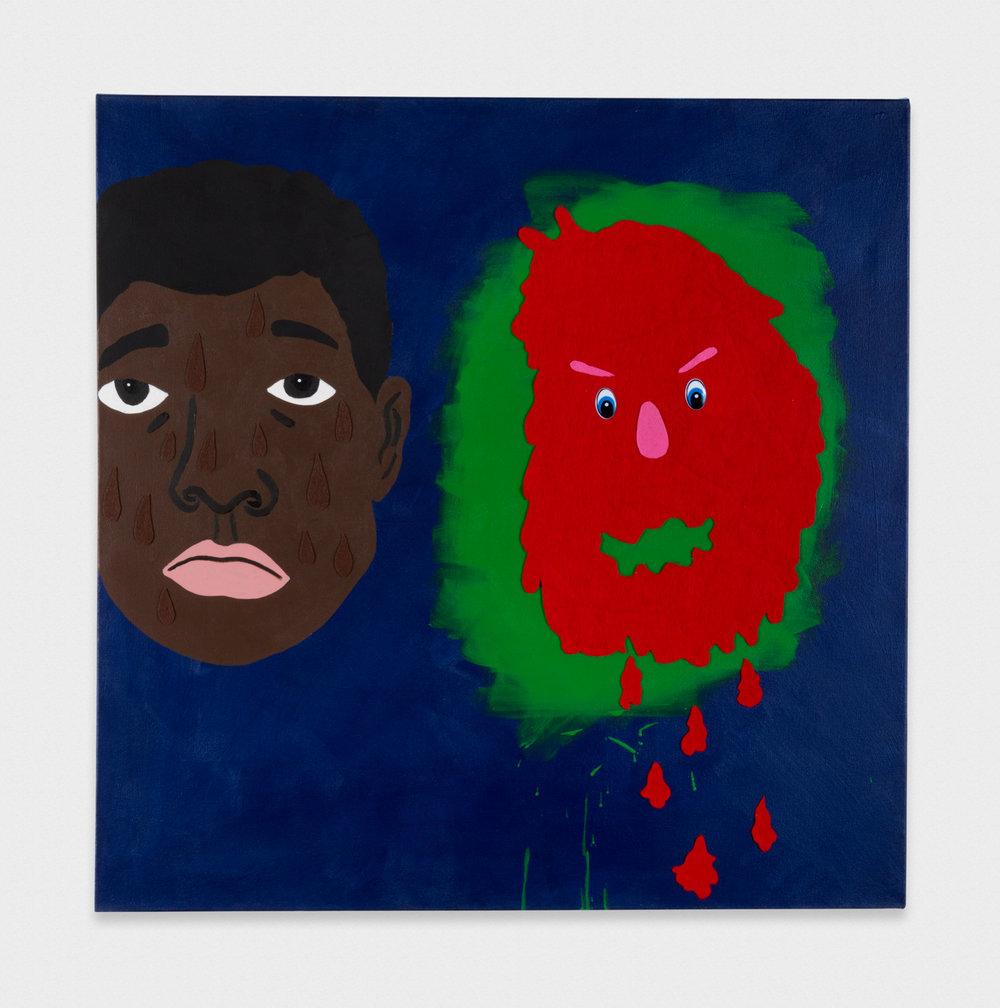 David Leggett My friend the newly formed political artist. 2017 Acrylic, felt, and wiggle eyes on canvas 36 x 36 in (91.44h x 91.44w cm) DL181