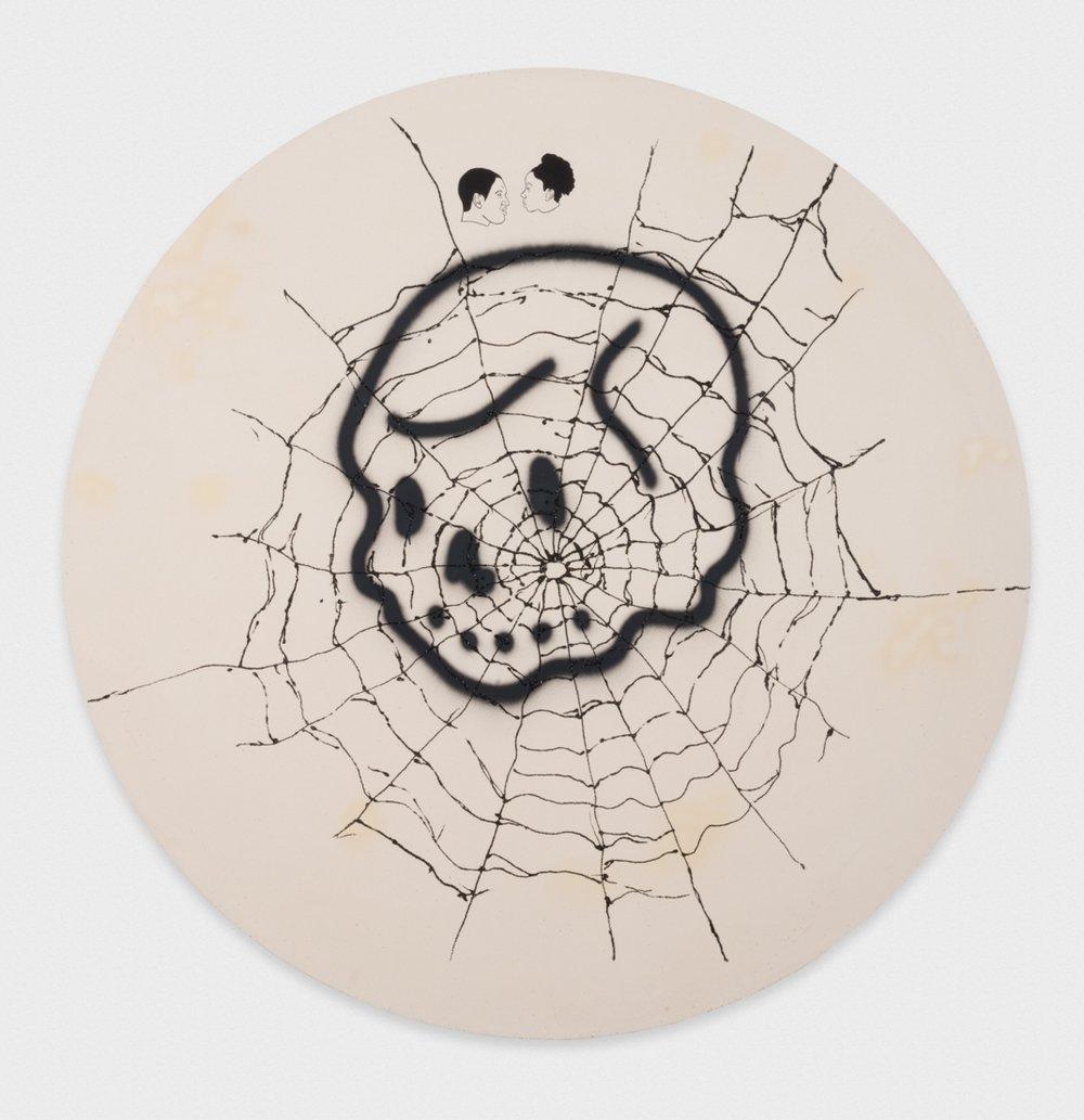 David Leggett Won't he do it? 2017 Acrylic, airbrush, glitter, and ink on canvas 72 x 72 x 2 in (182.88h x 182.88w x 5.08d cm) DL194