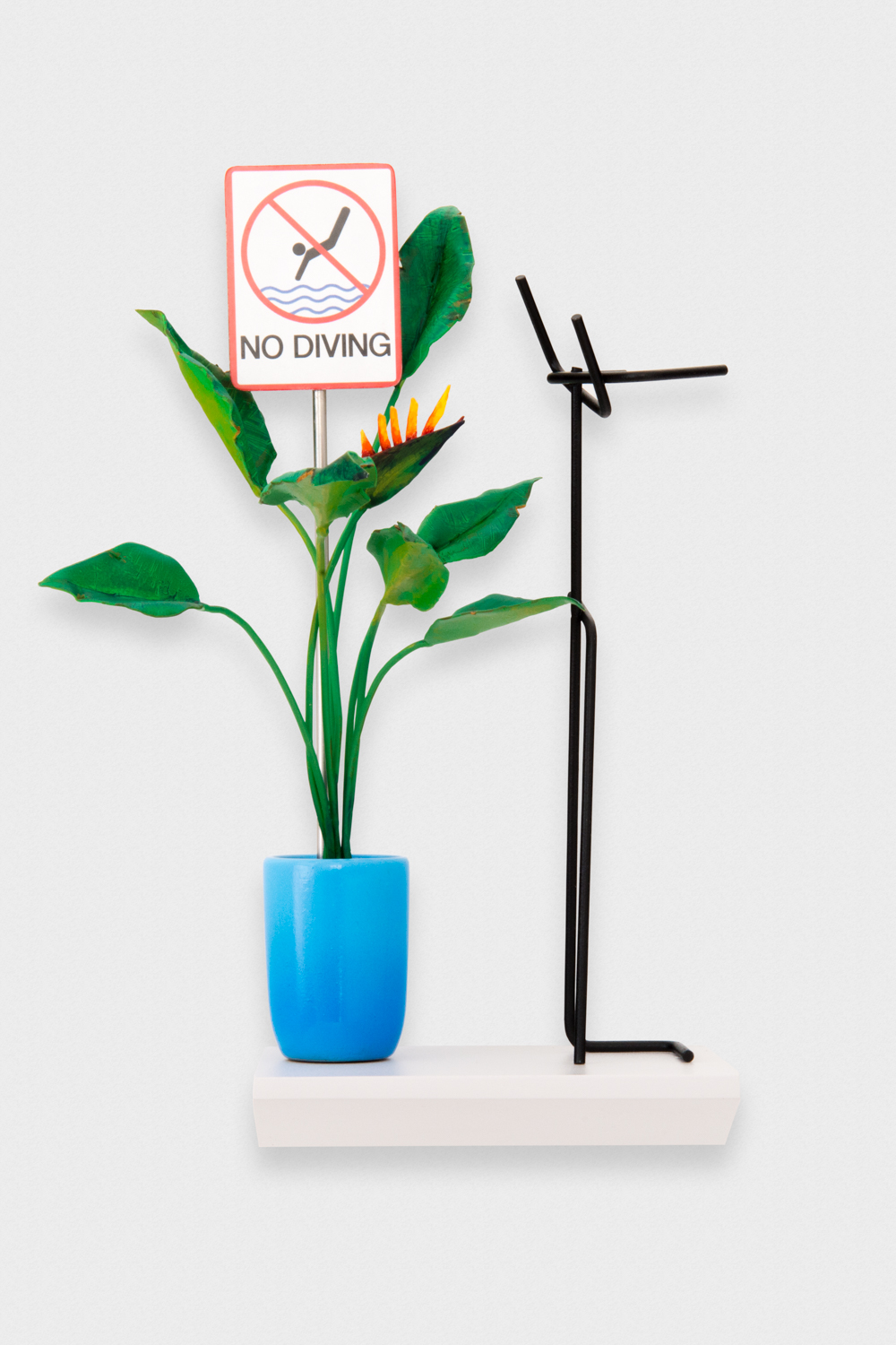 Chris Bradley  Paradise, A Bird with Modern Coat Rack (No Diving)  2017 Wood, steel, paint, stainless steel, laser jet print 9h x 6w x 5d in CB250