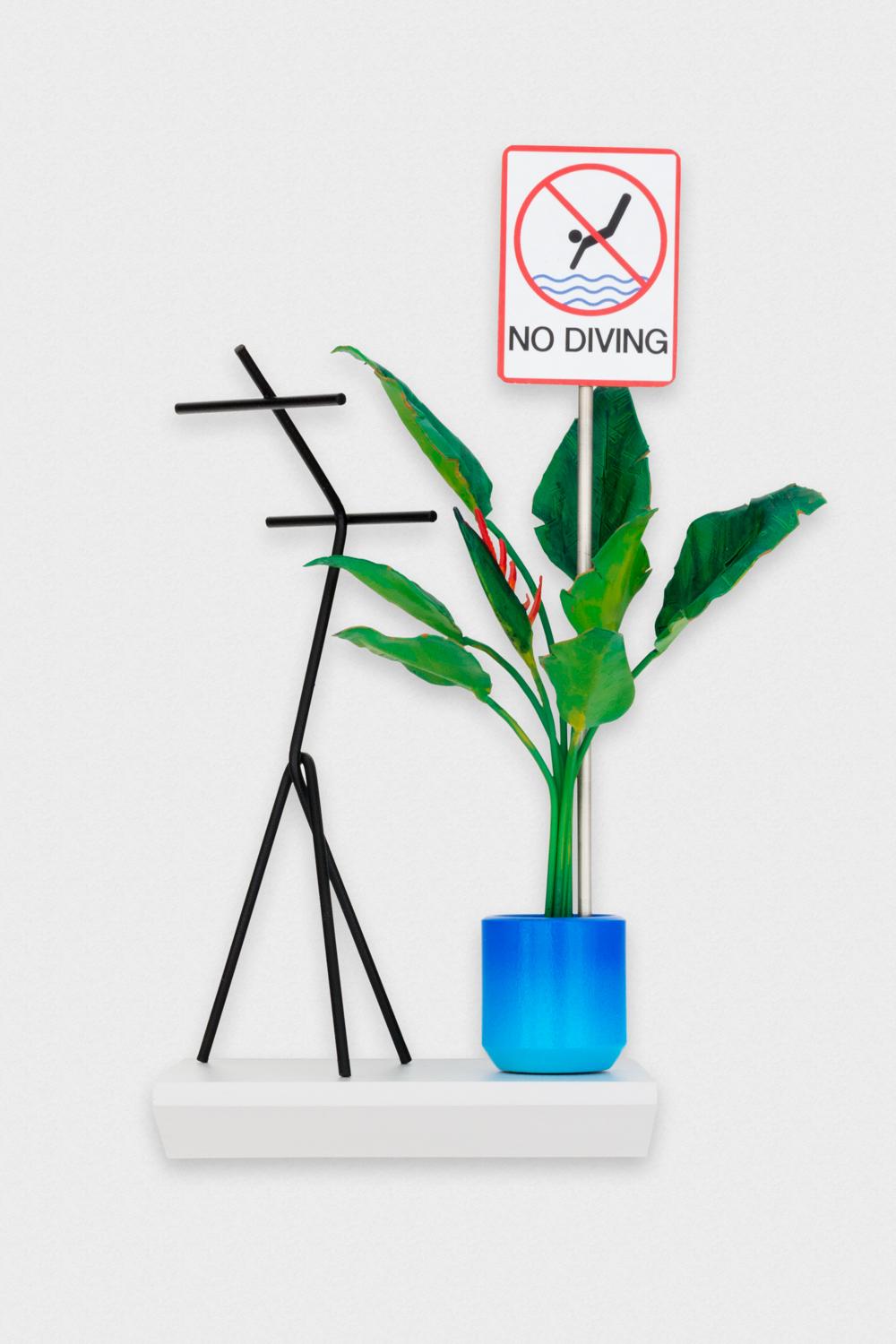 Chris Bradley  Paradise, A Bird with Modern Coat Rack (No Diving)  2017 Wood, steel, paint, stainless steel, laser jet print 9h x 5w x 4d in CB249