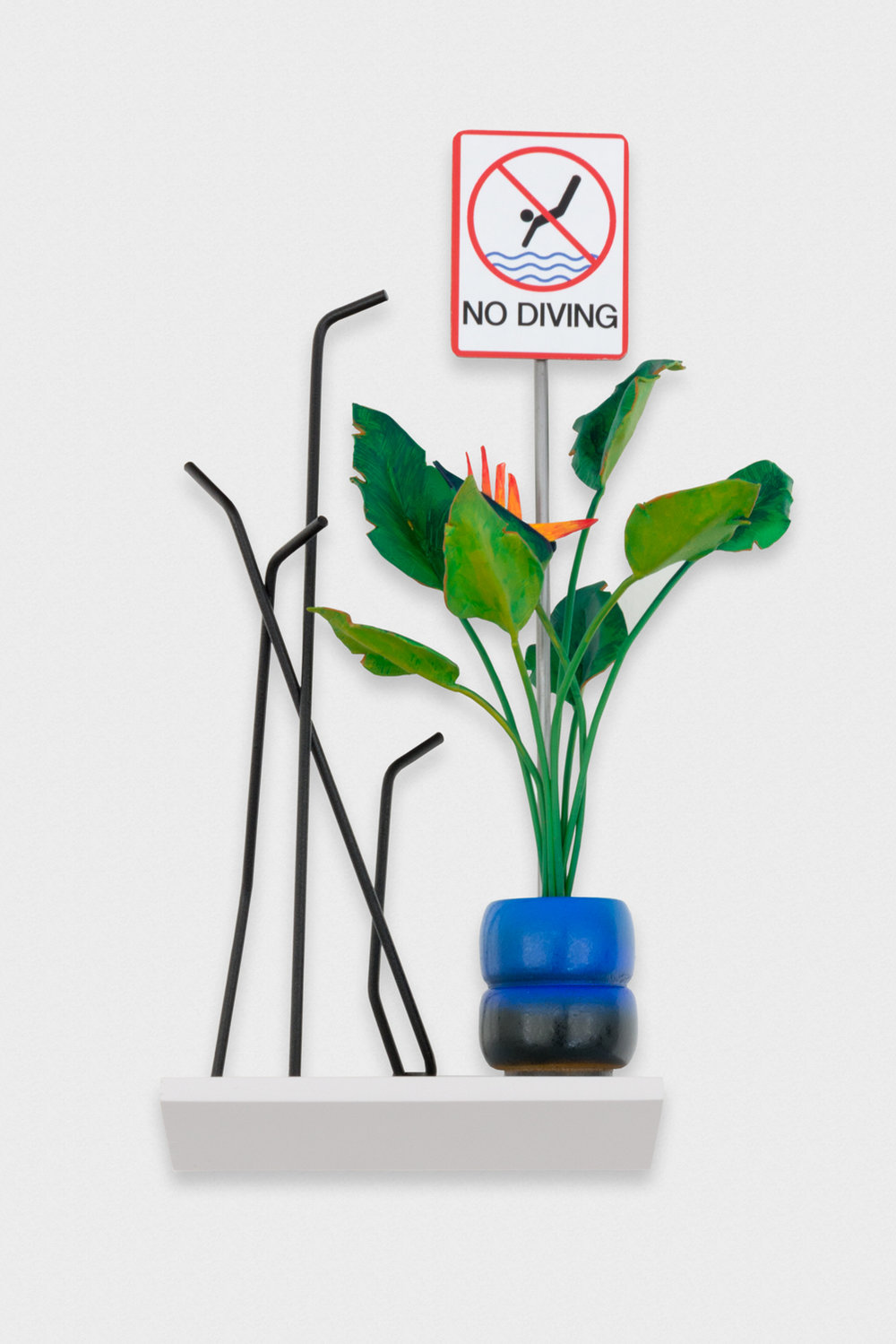 Chris Bradley  Paradise, A Bird with Modern Coat Rack (No Diving)  2017 Wood, steel, paint, stainless steel, laser jet print 9h x 5w x 3.5d in CB248