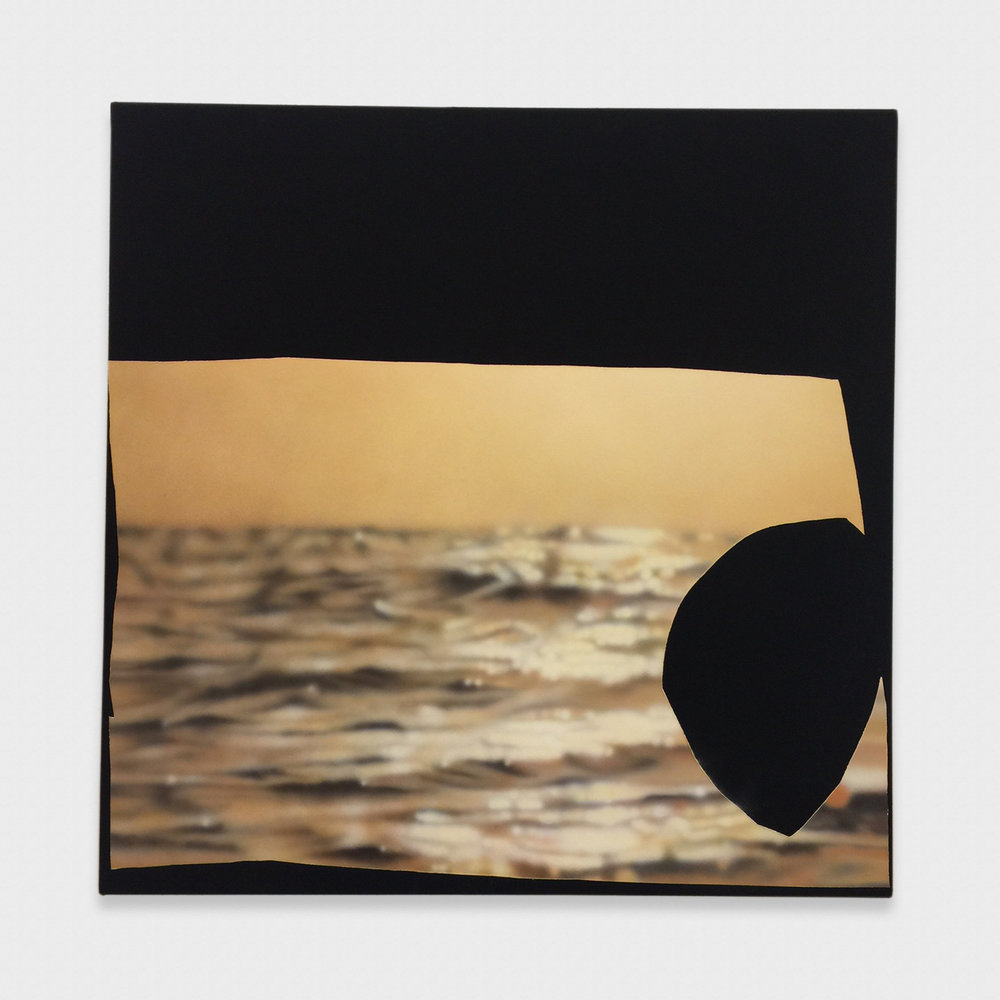 Kim Fisher  Magazine Painting (Sunset with Hole)  2017 Oil on dyed linen on panel 58h x 58w in KF033
